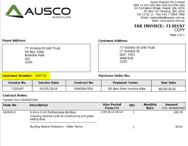 Ausco Invoice example for PayWay instructions