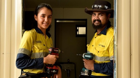 Ausco Modular Townsville apprentices Elisabeth Matters and Fred McGilvary